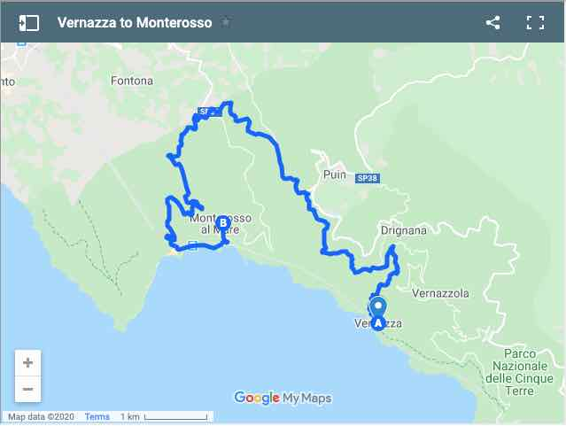 Map of Vernazza to Monterosso (Cinque Terre)
