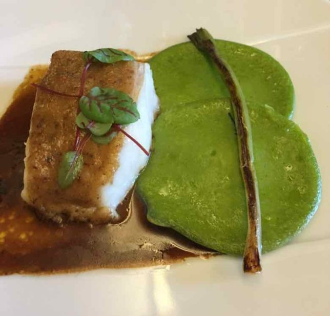 Cod with pea crepes (J. Chung)