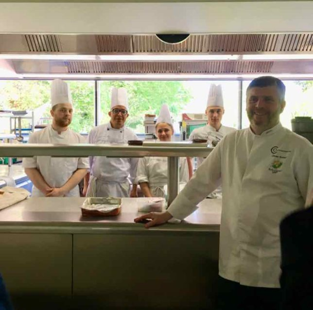 Culinary staff with Chef Boizet at Chateau de Champlong (J. Chung)