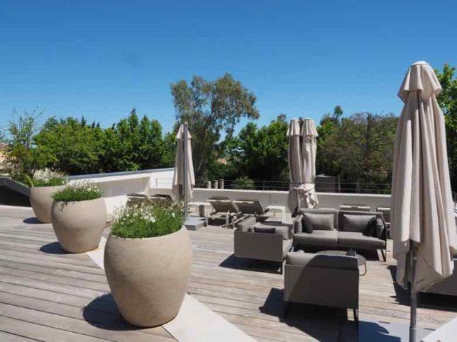 Outdoor lounge area-Chateau Autignac (J. Chung)
