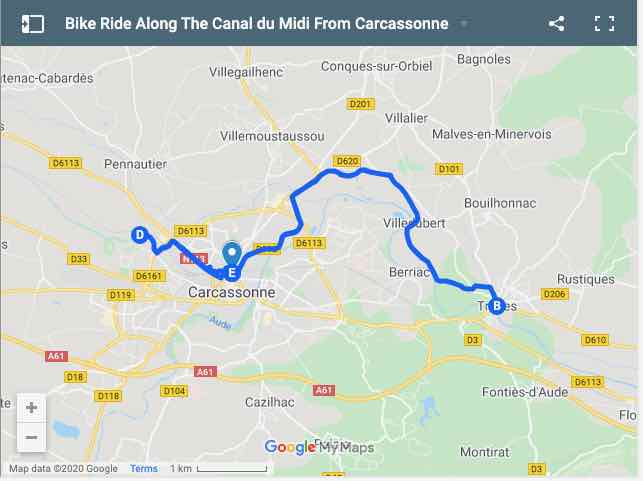 Bike Ride Along The Canal du Midi Map