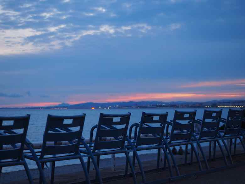 Iconic symbol for Nice-the blue chair (la chaise bleue) on the Promenade des Anglais, Nice (J. Chung)