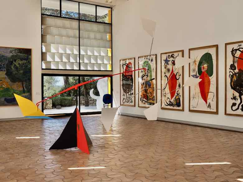 Joan Miro paintings and sculptures inside the Maeght Foundation (J. Chung)