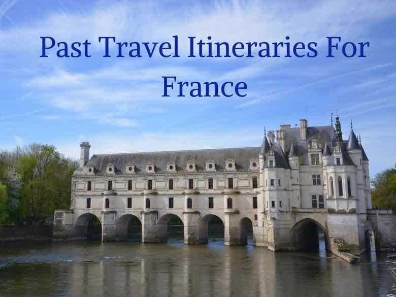 Past travel itineraries for France