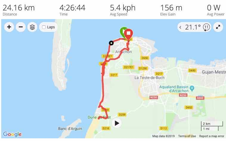 Bike route from Arcachon to Dune du Pilat (J. Chung)