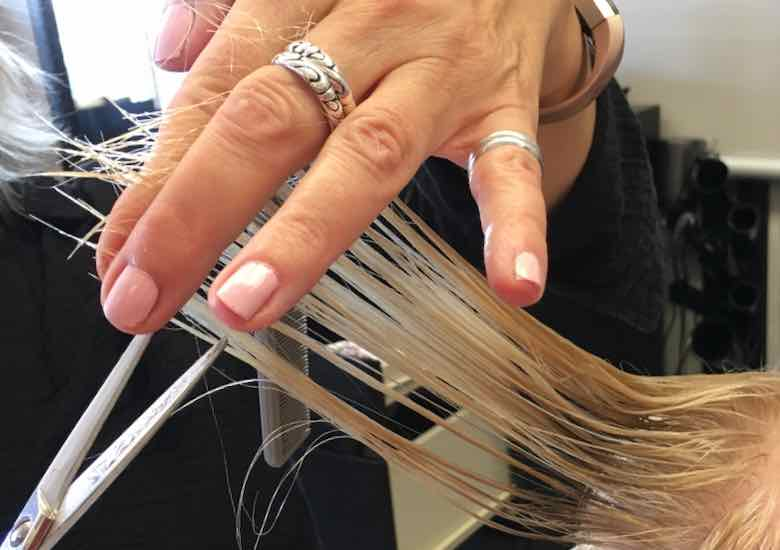 Cutting client's hair