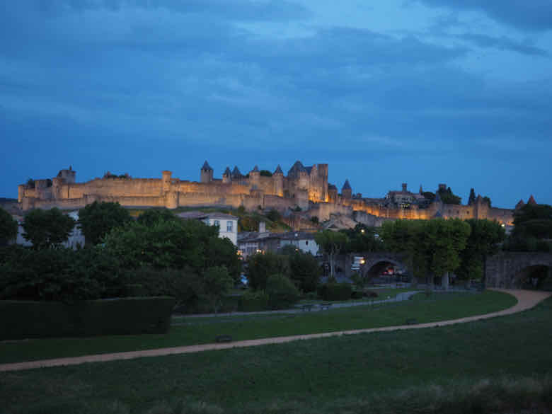 Carcassonne, France at night.