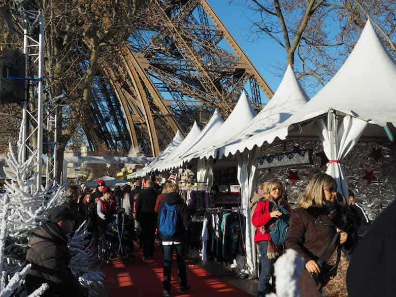 Christmas market by the Eiffel Tower in Paris (J. Chung)