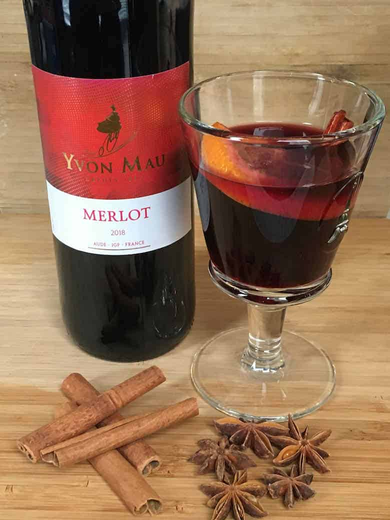 Merlot wine to make French mulled wine