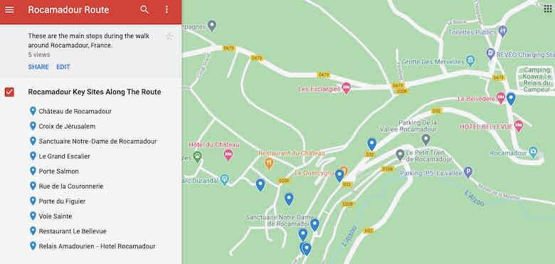 Rocamadour Route-Key Sites