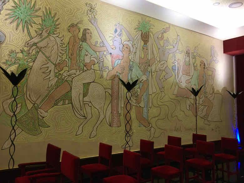 Wall inside La Salle des Mariages, Menton
